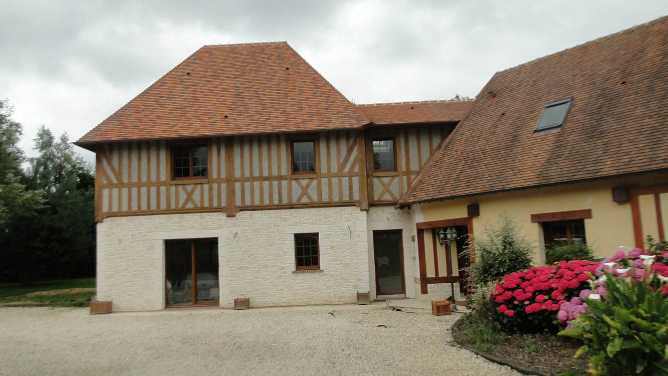 Extension maison normande colombage traditionnelle construction maison normande eure 27 - Extension maison normande ...